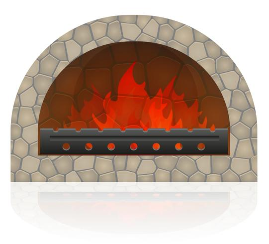 brandende vuur in de open haard vector illustratie