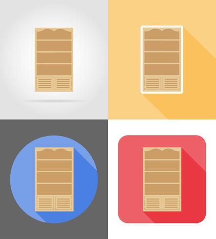 illustrazione piana di vettore delle icone piane della mobilia dello scaffale