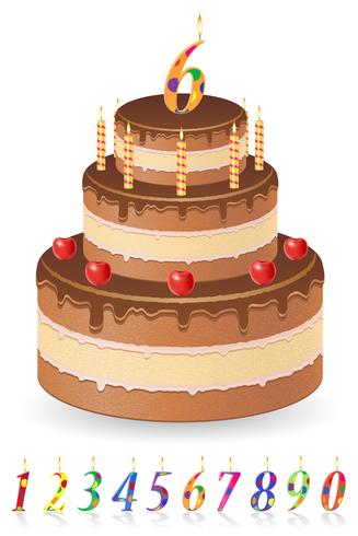 Pastel de cumpleaños de chocolate con números de ilustración vectorial de edad