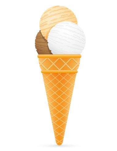 boules de crème glacée en illustration vectorielle de cône de gaufre