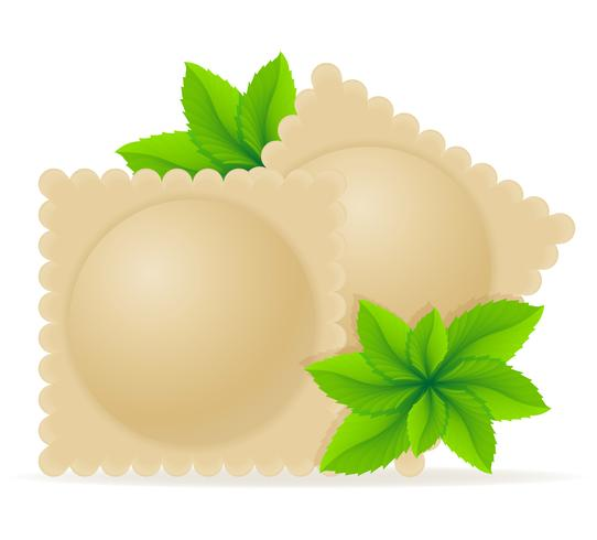 Ravioles de masa hervida de masa con un relleno y verdes ilustración vectorial