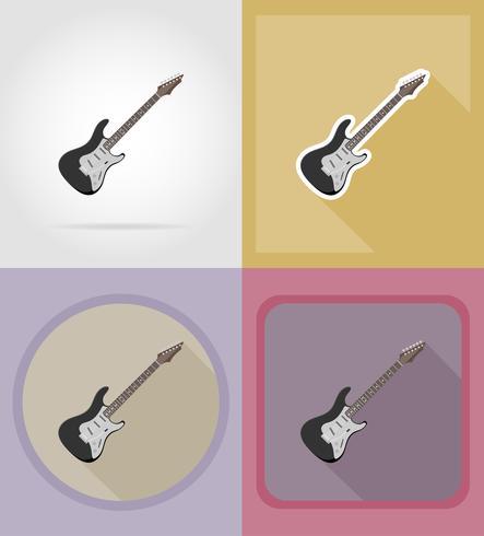 elektrisk gitarr platt ikoner vektor illustration