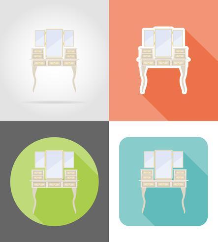penteadeira retrô velho conjunto de móveis ícones planas ilustração vetorial