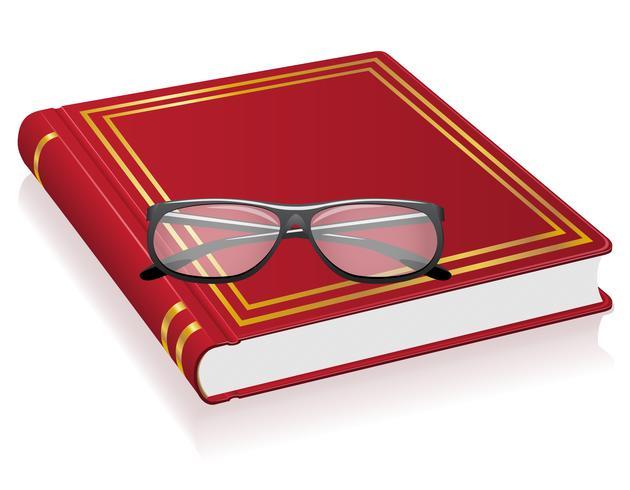 röd bok och glasögon vektor illustration