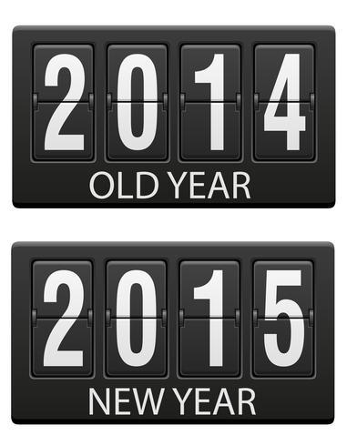 mechanische Anzeigetafel alt und die Vektorillustration des neuen Jahres