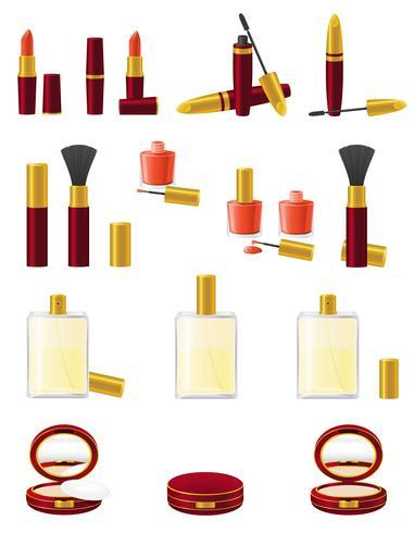 set ikoner kosmetika vektor illustration