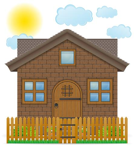 pequeña casa de campo con una ilustración de vector de valla de madera