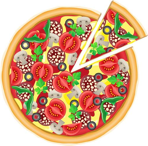 pizza and cut piece vector illustration