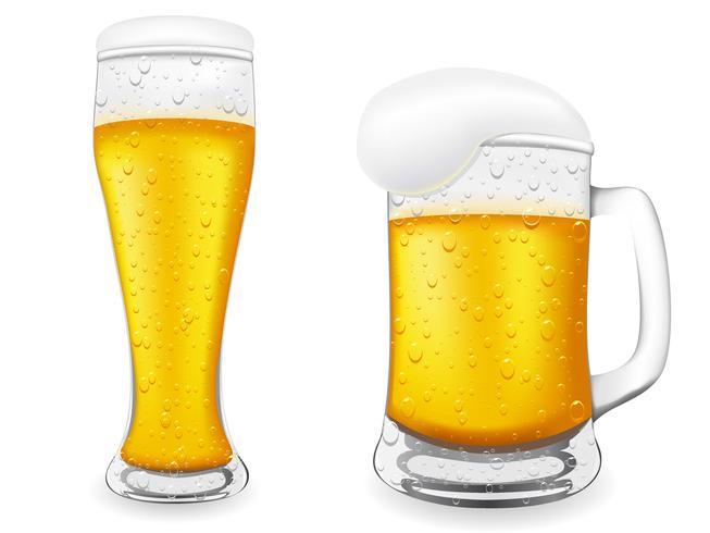 cerveja é na ilustração vetorial de vidro