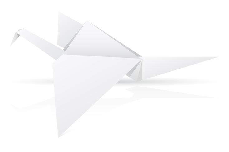 origami paper stork vector illustration