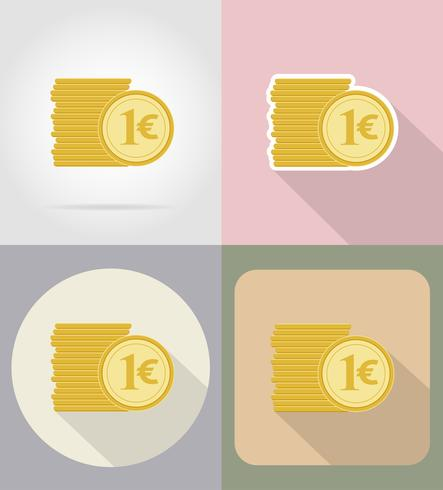 Monedas euro iconos planos vector illustration