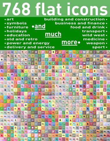 768 conjunto diversificado de ícones planas e ilustração vetorial de símbolos