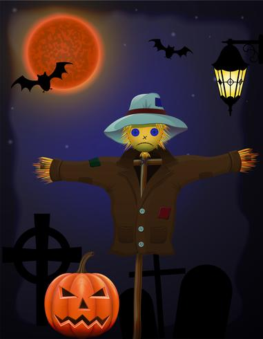 citrouille d'halloween et épouvantail dans le ciel nocturne vecteur