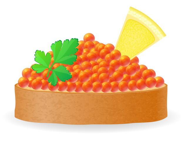 Sándwich con caviar rojo limón y perejil vector ilustración