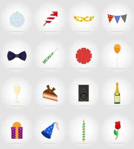 celebrations set flat icons vector illustration
