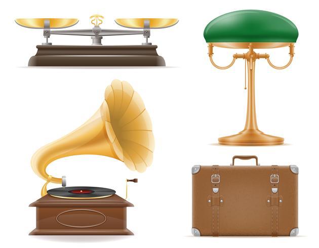 appareils ménagers vieux rétro vintage mis icônes illustration vectorielle stock vecteur