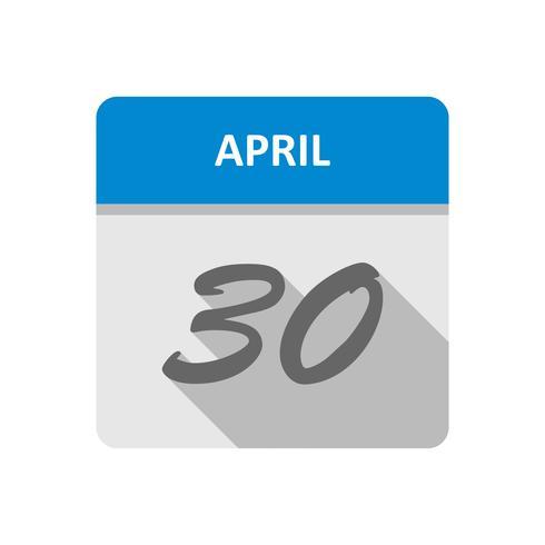 30. April Datum an einem Tageskalender