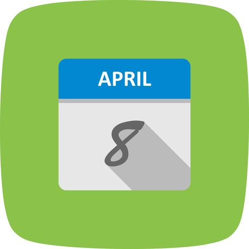 April 8th Date on a Single Day Calendar