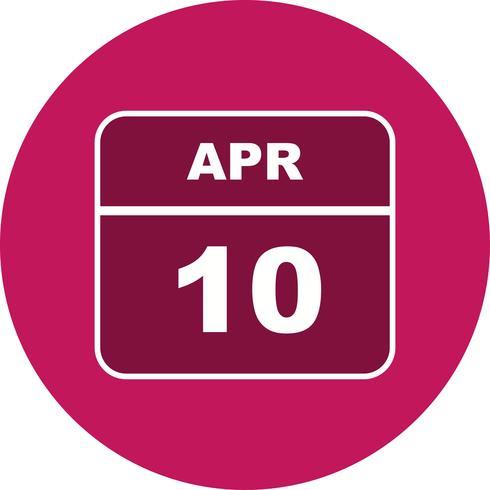 10 de abril Data em um calendário de dia único vetor