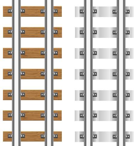 Rieles con traviesas de hormigón y madera ilustración vectorial vector