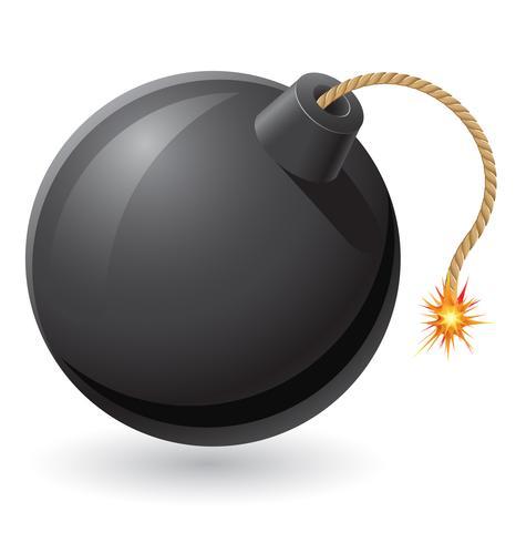 bomba negra com uma ilustração em vetor de fusível em chamas