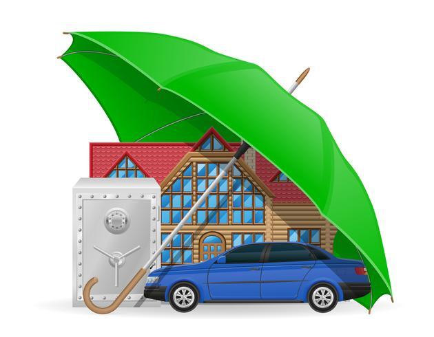 concept d'assurance protégé illustration vectorielle parapluie vecteur