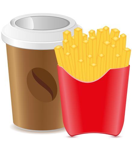 Pappbecher mit Kaffee und Pommes Frites