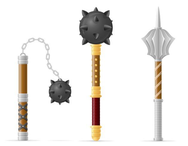 illustrazione di stock di vettore medievale macis di battaglia