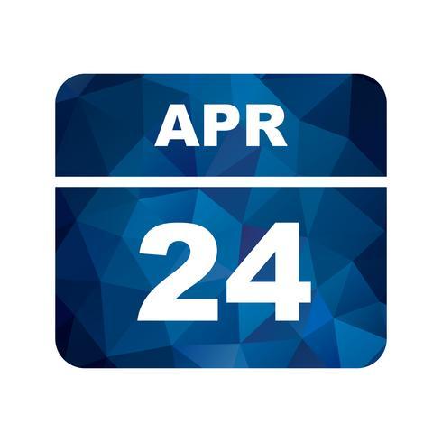24 aprile Data su un calendario per un solo giorno vettore