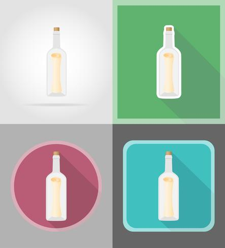 message in the bottle flat icons vector illustration