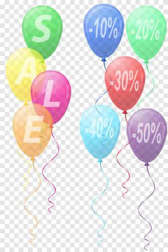 balões de cores transparentes com a ilustração em vetor venda inscrição