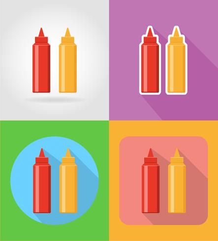 ketchup and mustard fast food flat icons with the shadow vector illustration