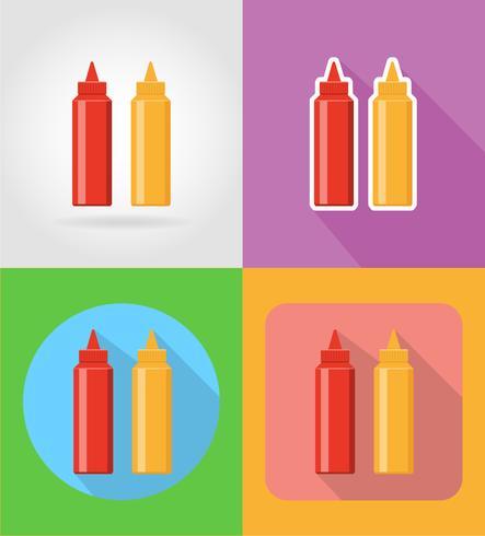 ketchup en mosterd fastfood plat pictogrammen met de schaduw vectorillustratie
