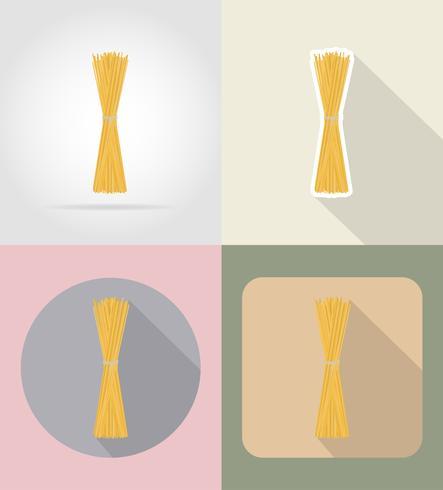 Teigwarenspaghetti-Lebensmittel und flache Ikonen der Gegenstände vector Illustration