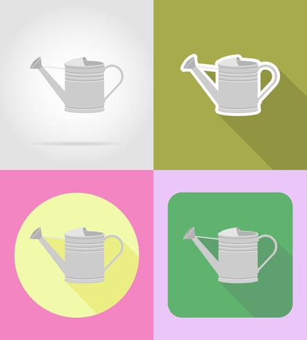 garden metal watering can flat icons vector illustration