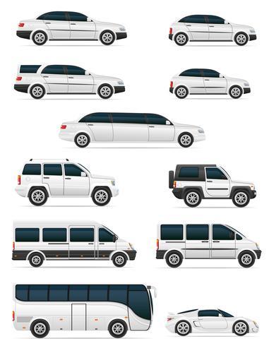 Conjunto de coches para el transporte de pasajeros ilustración vectorial vector