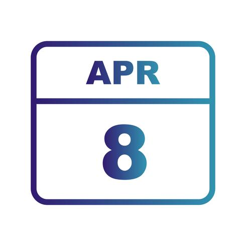 April 8th Date on a Single Day Calendar vector