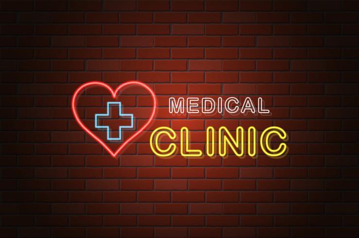 illustration vectorielle de rougeoyante enseigne au néon clinique médicale vecteur