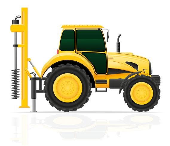 Traktor mit einer Bohrgerätvektorillustration