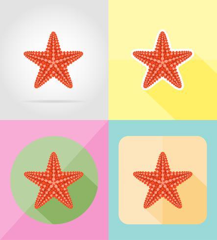 icone piatte stelle marine illustrazione vettoriale