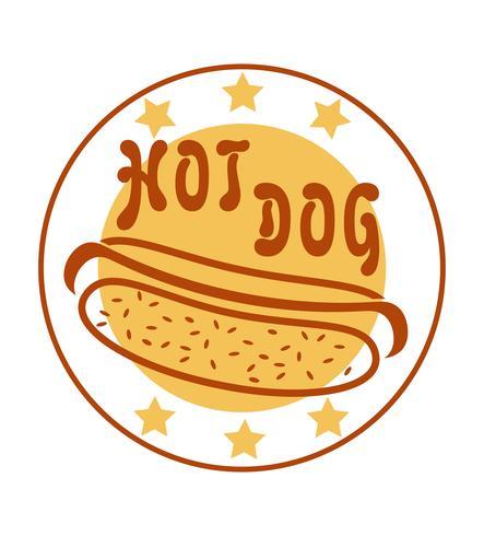 Logo hot dog para ilustración de vector de comida rápida