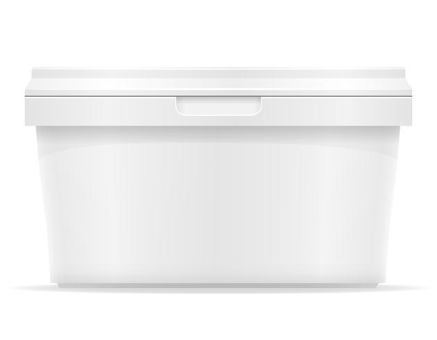 récipient en plastique blanc pour illustration vectorielle crème glacée ou dessert