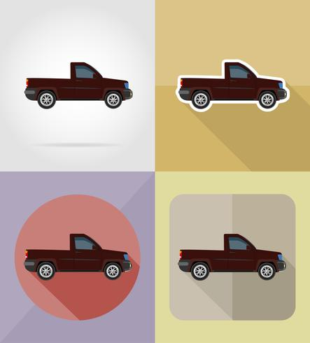 pick-up transport plat pictogrammen vector illustratie