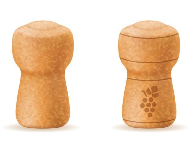 corkwood cork for champagne bottle vector illustration