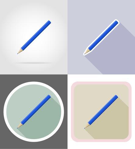 Set von flachen Ikonen Vektor Bleistift Schreibwaren Ausrüstung