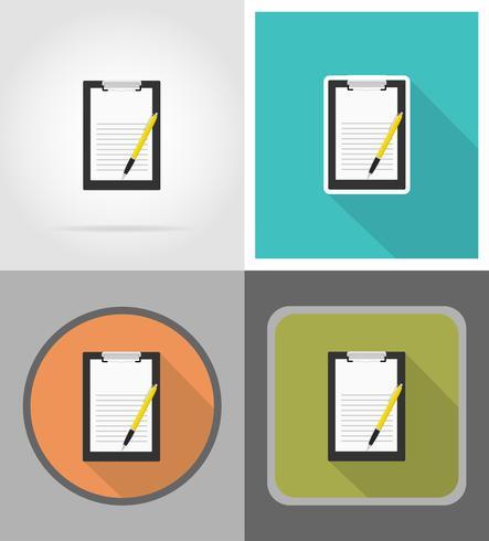 Portapapeles y pluma plana iconos vector illustration