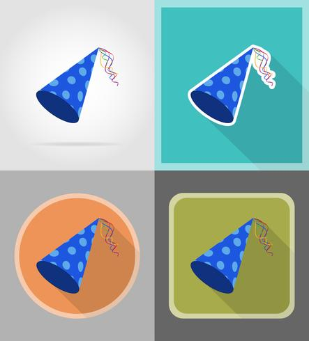 cap for birthday celebrations flat icons vector illustration