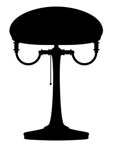 Vektorillustration des schwarzen Entwurfsschattenbildes der Lampe Retro- Weinleseikone auf Lager