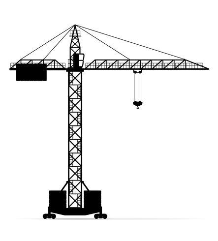 building crane black silhouette outline vector illustration