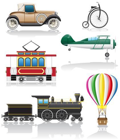 set icons old retro transport vector illustration